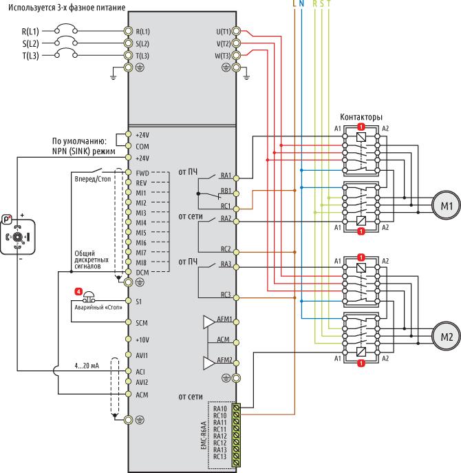 Каскадное управление насосами с частотным преобразователем
