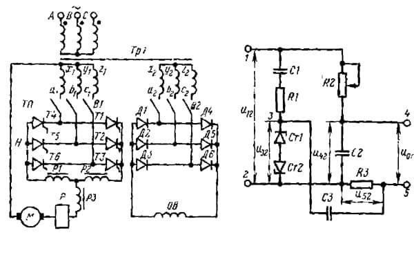 Принципиальная электрическая схема тиристорного преобразователя
