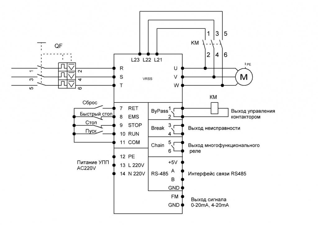 Схемы подключения преобразователей частоты VEMPER