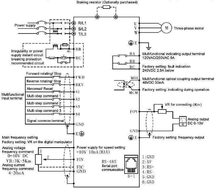 Схема электрических соединений преобразователя частоты серии HC1-C