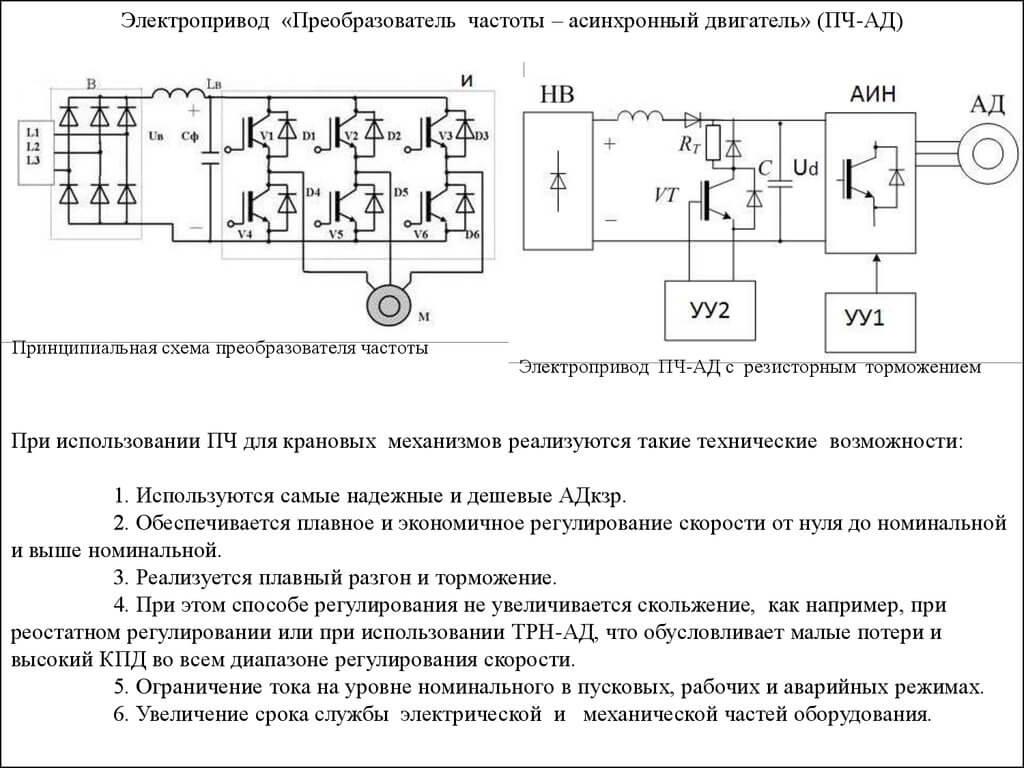 Схема преобразователя частоты для асинхронного двигателя